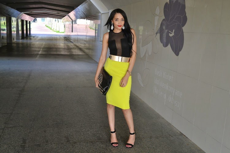 Lime skirt for evening GLAM {OOTD}