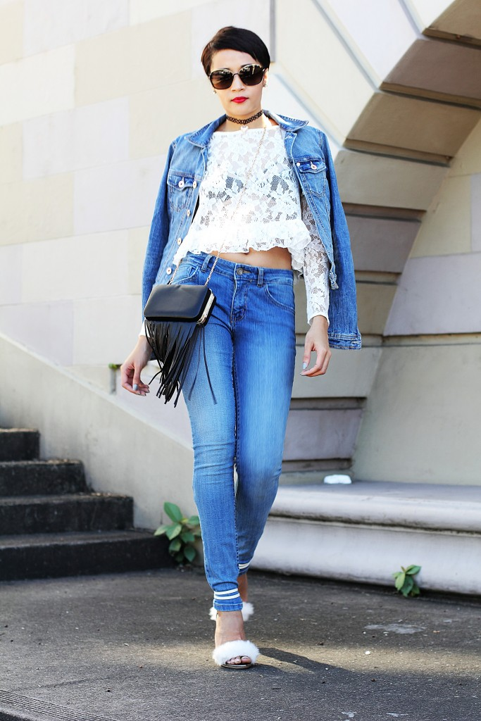 fashion blogger wearing fur shoes and lace top and cotton on THE WANTED DENIM 18