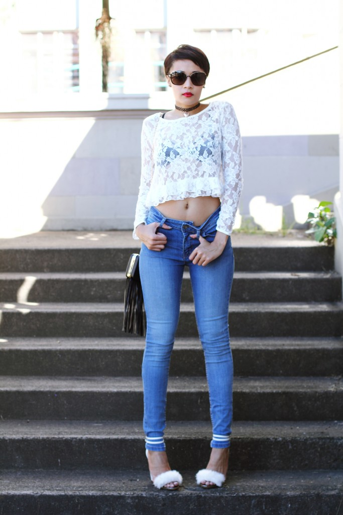 fashion blogger wearing fur shoes and lace top and cotton on THE WANTED DENIM 2