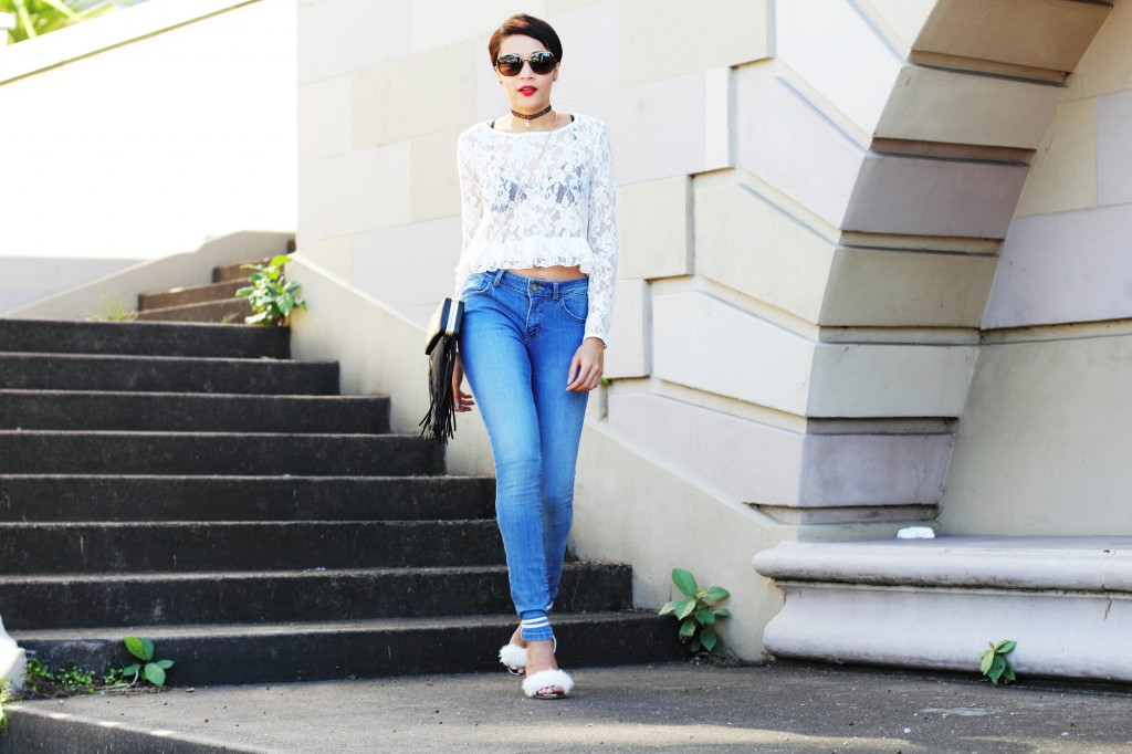fashion blogger wearing fur shoes and lace top and cotton on THE WANTED DENIM 23