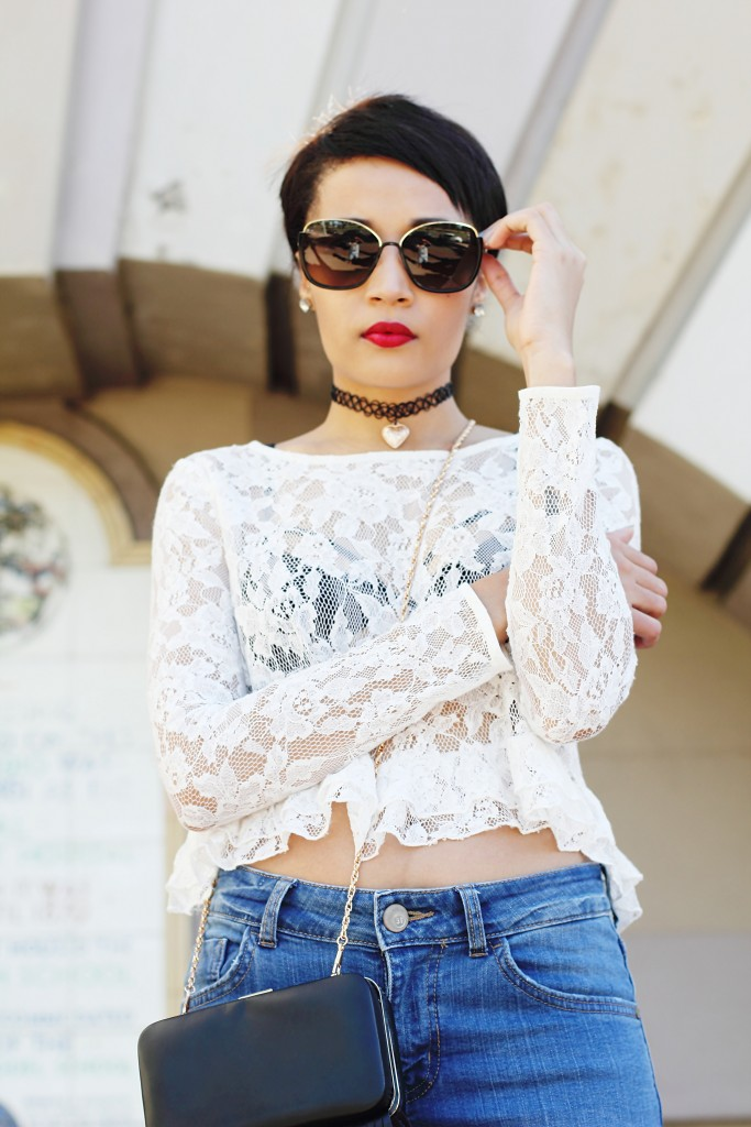 fashion blogger wearing fur shoes and lace top and cotton on THE WANTED DENIM 27