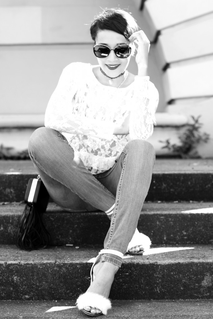 fashion blogger wearing fur shoes and lace top and cotton on THE WANTED DENIM 33