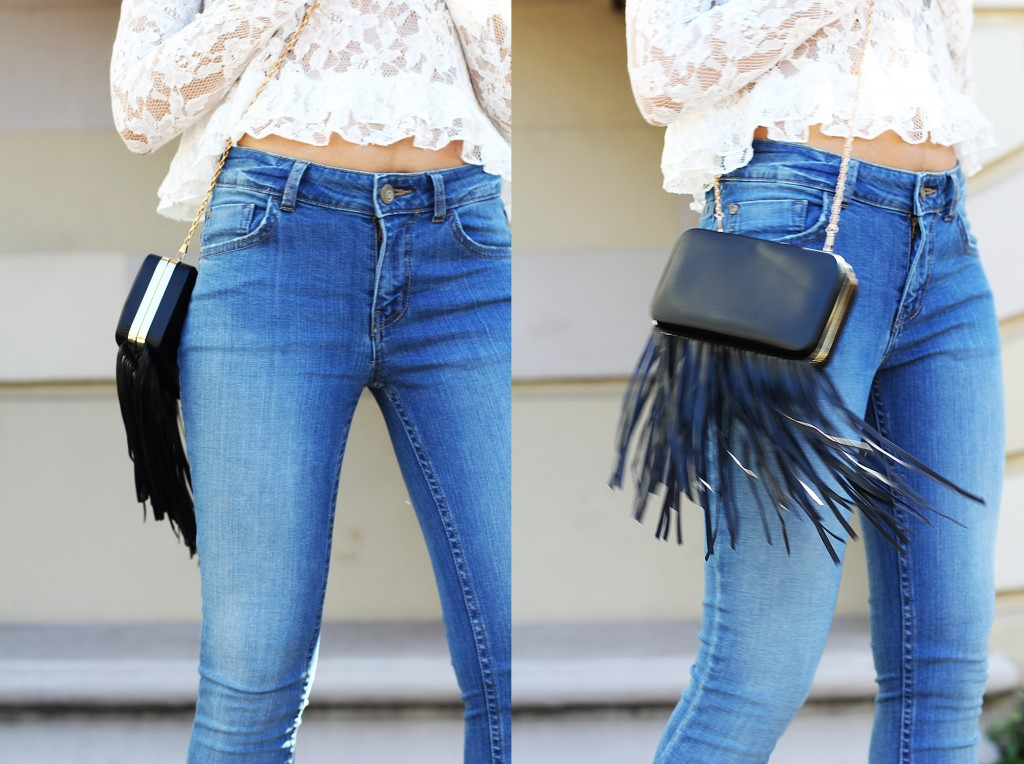 fashion blogger wearing fur shoes and lace top and cotton on THE WANTED DENIM 35