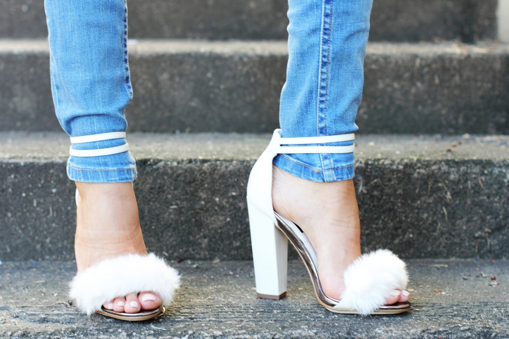 fashion blogger wearing fur shoes and lace top and cotton on THE WANTED DENIM 6