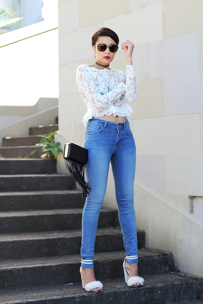 fashion blogger wearing fur shoes and lace top and cotton on THE WANTED DENIM 9