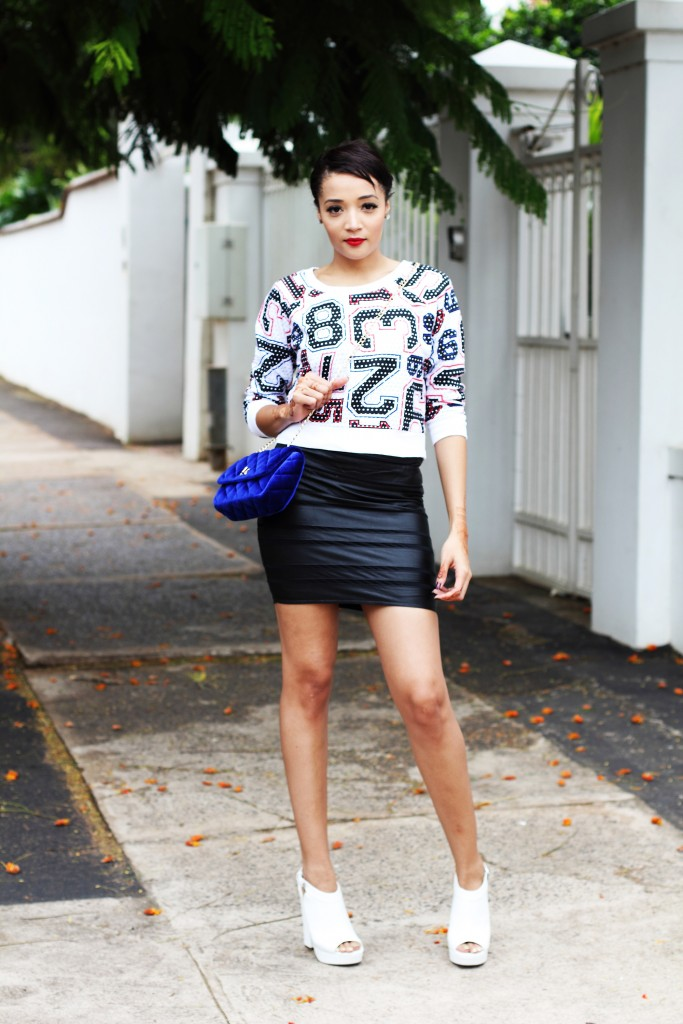 Fashion blogger wear stripe leather skirt 11