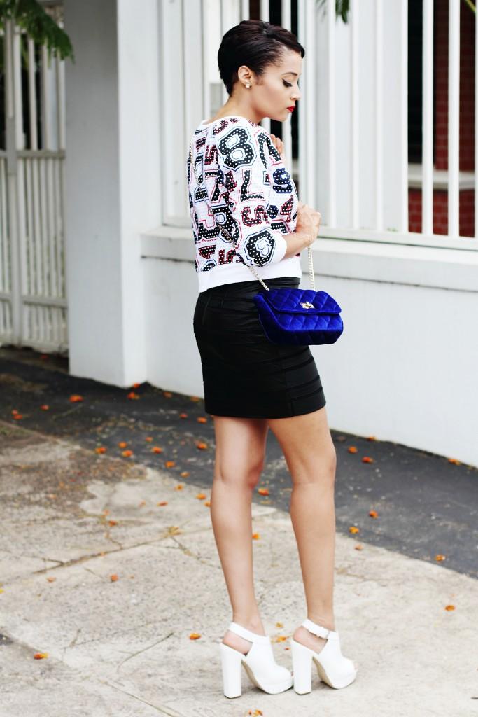 Fashion blogger wear stripe leather skirt 16