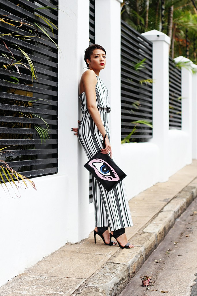 Fashion blogger wears stripe jumpsuit 4