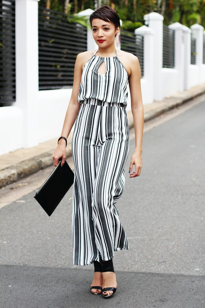 Fashion blogger wears stripe jumpsuit 9