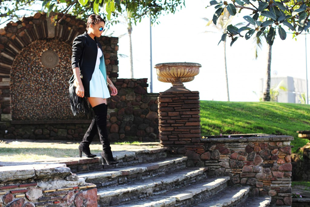 Fashion blogger thigh high boots style 17