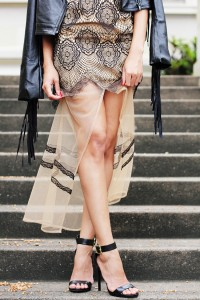 Fashion blogger Brett Robson wears Lace dress and fringe jacket 9