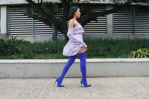 Purple thigh high boots