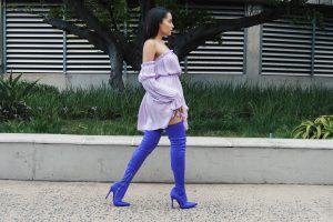 Purple thigh high boots