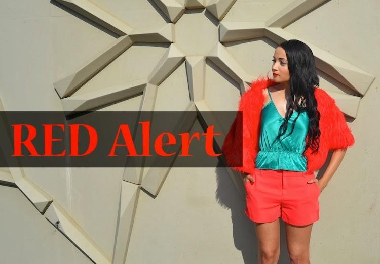Red Shorts + Faux Fur  Shrug {OOTD}