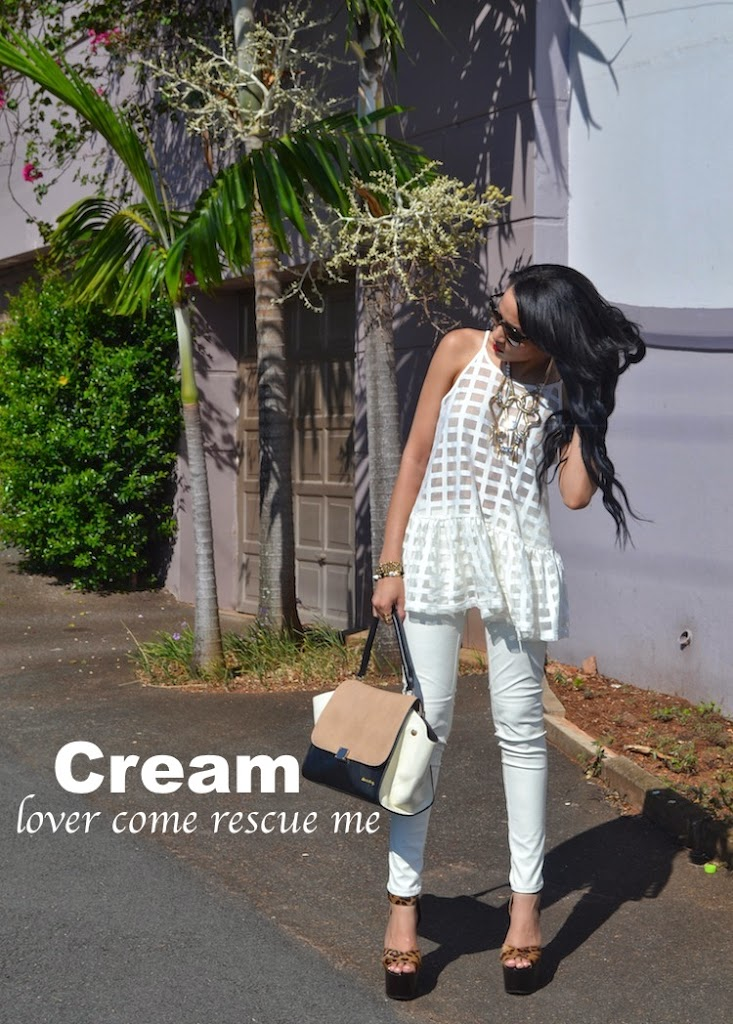 Cream faux leather & mesh {OOTD}