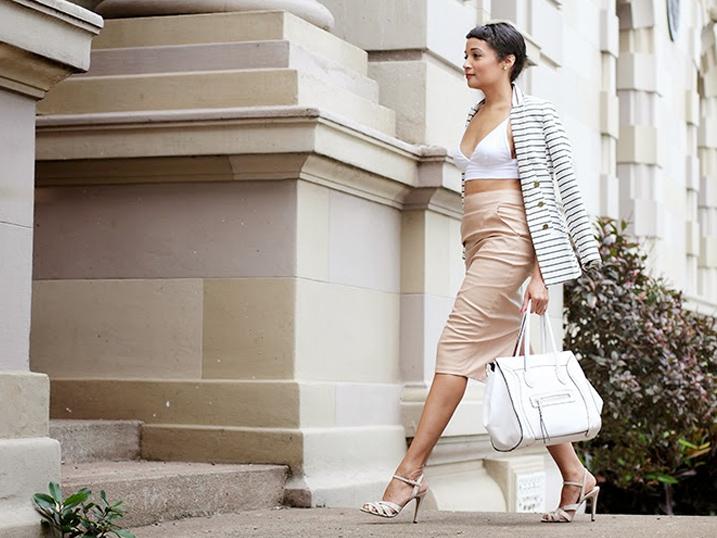 Camel Skirt + Stripe Jacket {OOTD}