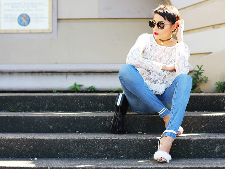 Casual Lace & Faux Fur Shoes OOTD